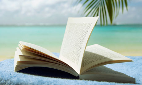 Open book at beach