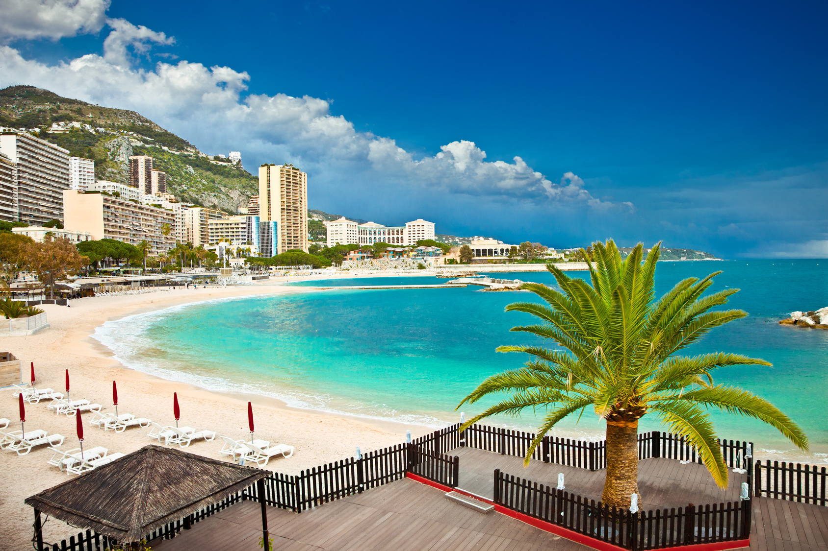 Beautiful Monte Carlo beaches, Monaco.Azur coast.
